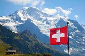 Swiss Alps and Flag